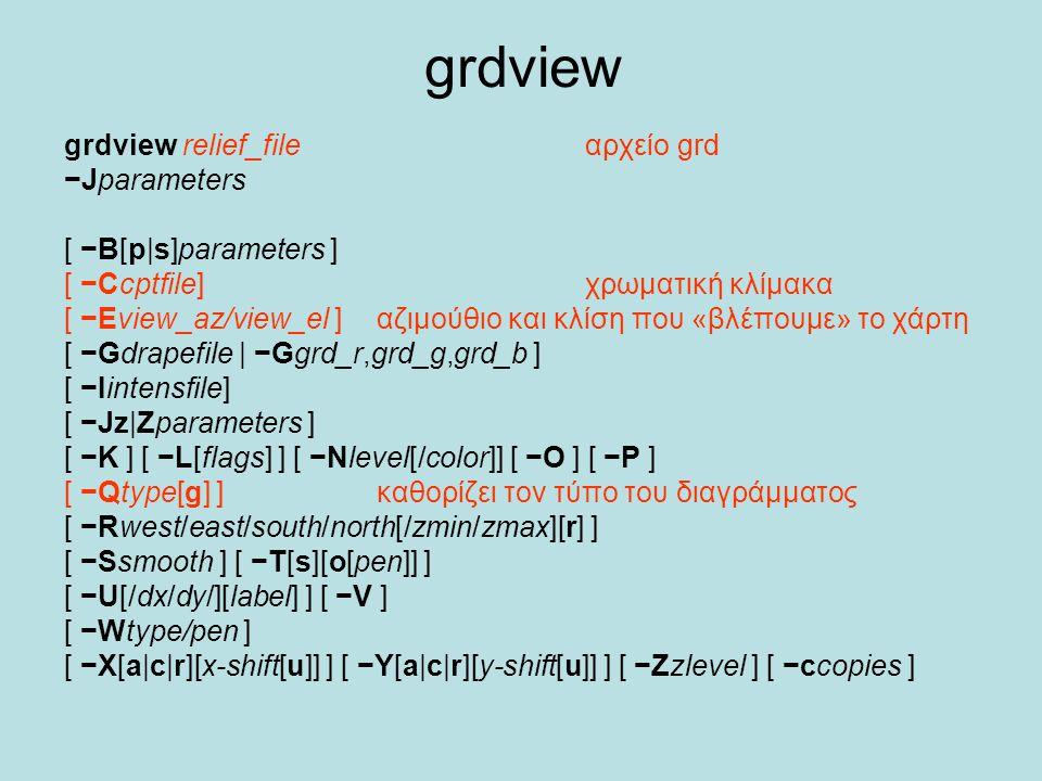 grdview grdview relief_file αρχείο grd −Jparameters [ −B[p|s]parameters ] [ −Ccptfile] χρωματική κλίμακα [ −Eview_az/view_el ] αζιμούθιο και κλίση που