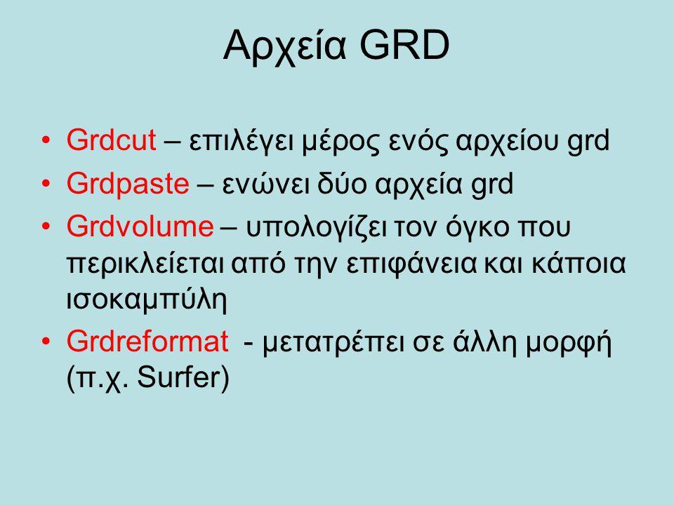 Αρχεία GRD Grdcut – επιλέγει μέρος ενός αρχείου grd Grdpaste – ενώνει δύο αρχεία grd Grdvolume – υπολογίζει τον όγκο που περικλείεται από την επιφάνει