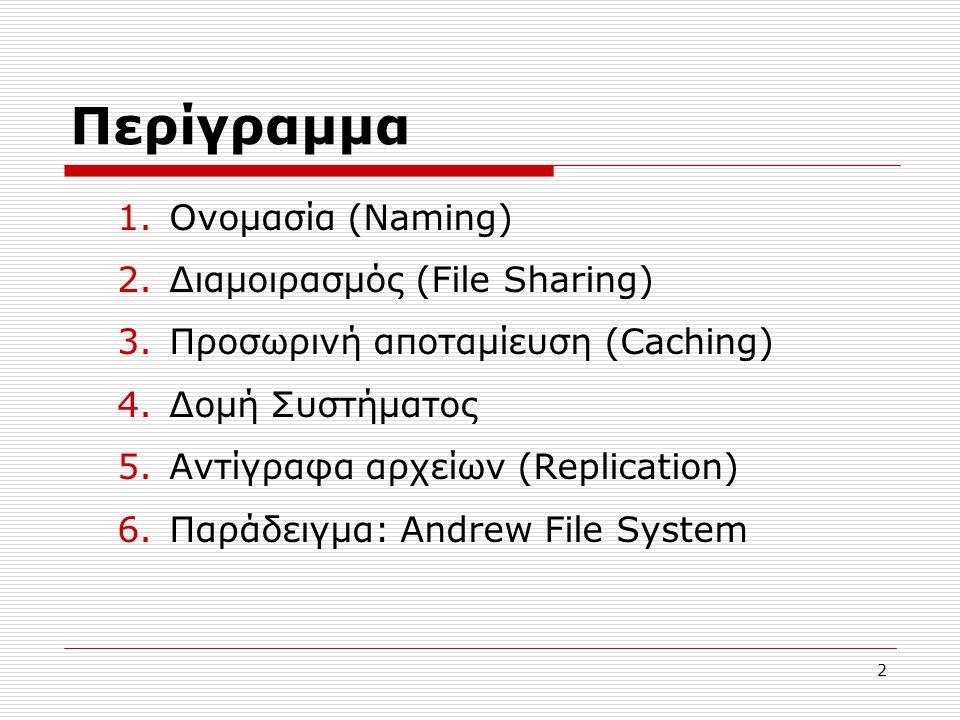 Περίγραμμα 1.Ονομασία (Naming) 2.Διαμοιρασμός (File Sharing) 3.Προσωρινή αποταμίευση (Caching) 4.Δομή Συστήματος 5.Αντίγραφα αρχείων (Replication) 6.Παράδειγμα: Andrew File System 2