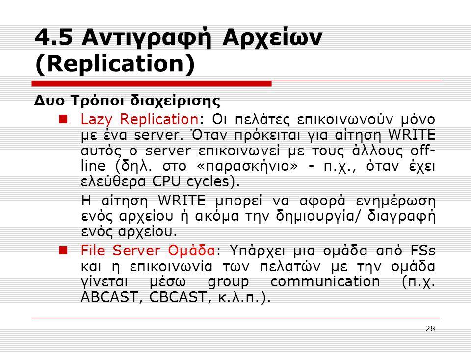 4.5 Αντιγραφή Αρχείων (Replication) Δυο Τρόποι διαχείρισης Lazy Replication: Οι πελάτες επικοινωνούν μόνο με ένα server. Όταν πρόκειται για αίτηση WRI