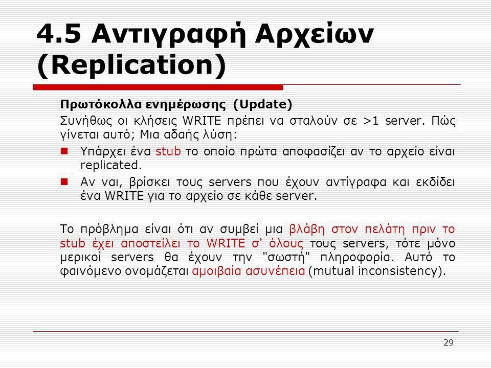 4.5 Αντιγραφή Αρχείων (Replication) Πρωτόκολλα ενημέρωσης (Update) Συνήθως οι κλήσεις WRITE πρέπει να σταλούν σε >1 server. Πώς γίνεται αυτό; Μια αδαή