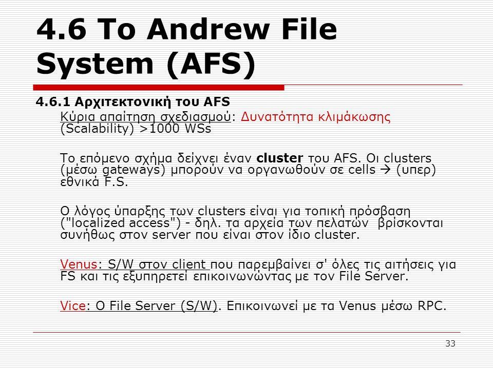 4.6 Το Andrew File System (AFS) 4.6.1 Αρχιτεκτονική του AFS Κύρια απαίτηση σχεδιασμού: Δυνατότητα κλιμάκωσης (Scalability) >1000 WSs Το επόμενο σχήμα δείχνει έναν cluster του AFS.