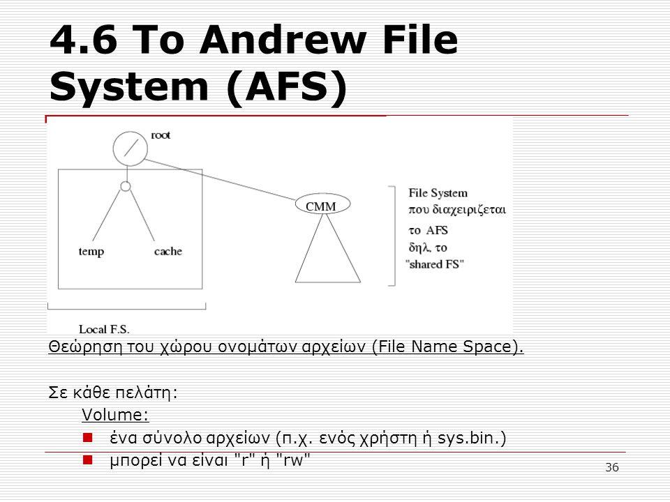 4.6 Το Andrew File System (AFS) Θεώρηση του χώρου ονομάτων αρχείων (File Name Space). Σε κάθε πελάτη: Volume: ένα σύνολο αρχείων (π.χ. ενός χρήστη ή s