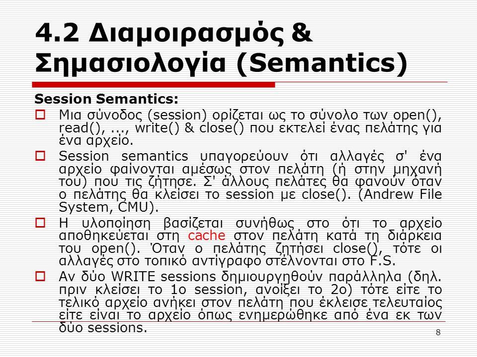 4.2 Διαμοιρασμός & Σημασιολογία (Semantics) Session Semantics:  Μια σύνοδος (session) ορίζεται ως το σύνολο των open(), read(),..., write() & close()
