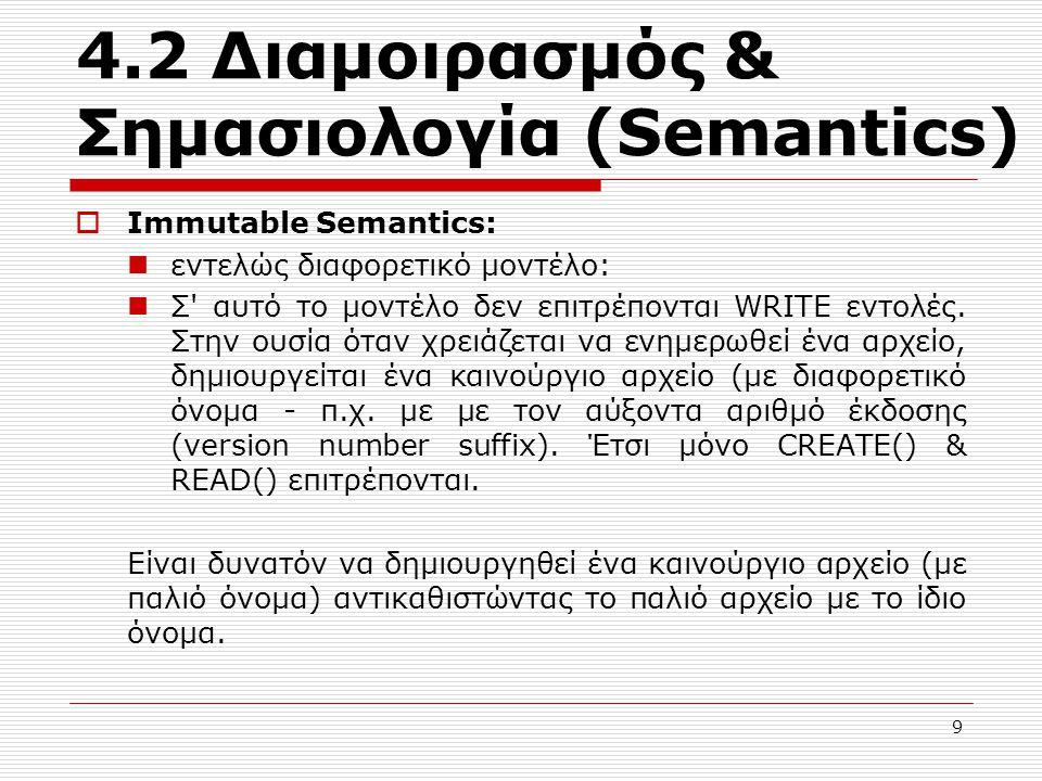 4.2 Διαμοιρασμός & Σημασιολογία (Semantics)  Immutable Semantics: εντελώς διαφορετικό μοντέλο: Σ' αυτό το μοντέλο δεν επιτρέπονται WRITE εντολές. Στη