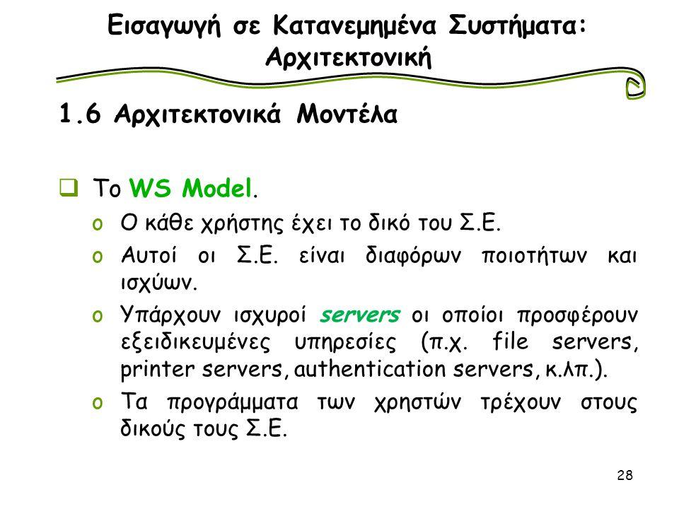 28 Εισαγωγή σε Κατανεμημένα Συστήματα: Αρχιτεκτονική 1.6 Αρχιτεκτονικά Μοντέλα  To WS Μodel. oΟ κάθε χρήστης έχει το δικό του Σ.Ε. oΑυτοί οι Σ.Ε. είν