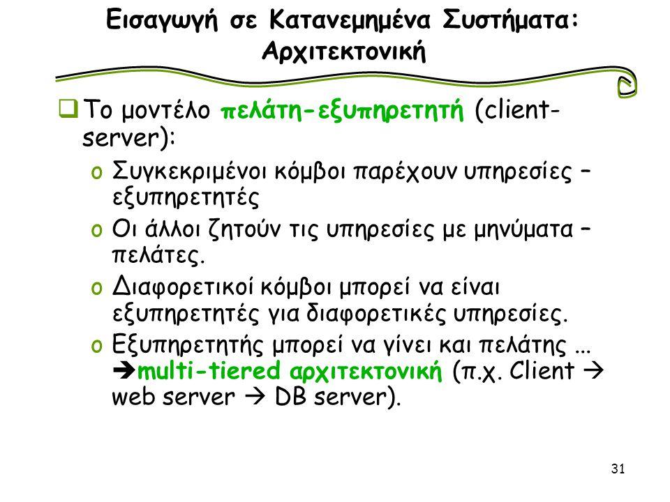 31 Εισαγωγή σε Κατανεμημένα Συστήματα: Αρχιτεκτονική  Το μοντέλο πελάτη-εξυπηρετητή (client- server): oΣυγκεκριμένοι κόμβοι παρέχουν υπηρεσίες – εξυπ