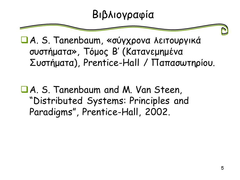 5 Βιβλιογραφία  A. S. Tanenbaum, «σύγχρονα λειτουργικά συστήματα», Τόμος Β' (Κατανεμημένα Συστήματα), Prentice-Hall / Παπασωτηρίου.  A. S. Tanenbaum