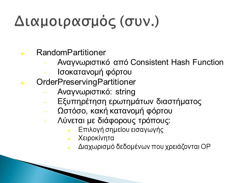 RandomPartitioner  Αναγνωριστικό από Consistent Hash Function  Ισοκατανομή φόρτου OrderPreservingPartitioner  Αναγνωριστικό: string  Εξυπηρέτηση ερωτημάτων διαστήματος  Ωστόσο, κακή κατανομή φόρτου  Λύνεται με διάφορους τρόπους: Επιλογή σημείου εισαγωγής Χειροκίνητα Διαχωρισμό δεδομένων που χρειάζονται OP