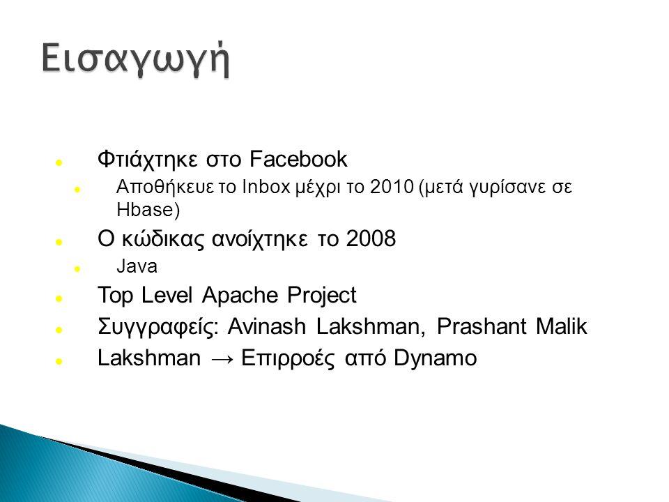 Φτιάχτηκε στο Facebook Αποθήκευε το Inbox μέχρι το 2010 (μετά γυρίσανε σε Hbase) Ο κώδικας ανοίχτηκε το 2008 Java Top Level Apache Project Συγγραφείς: Avinash Lakshman, Prashant Malik Lakshman → Επιρροές από Dynamo