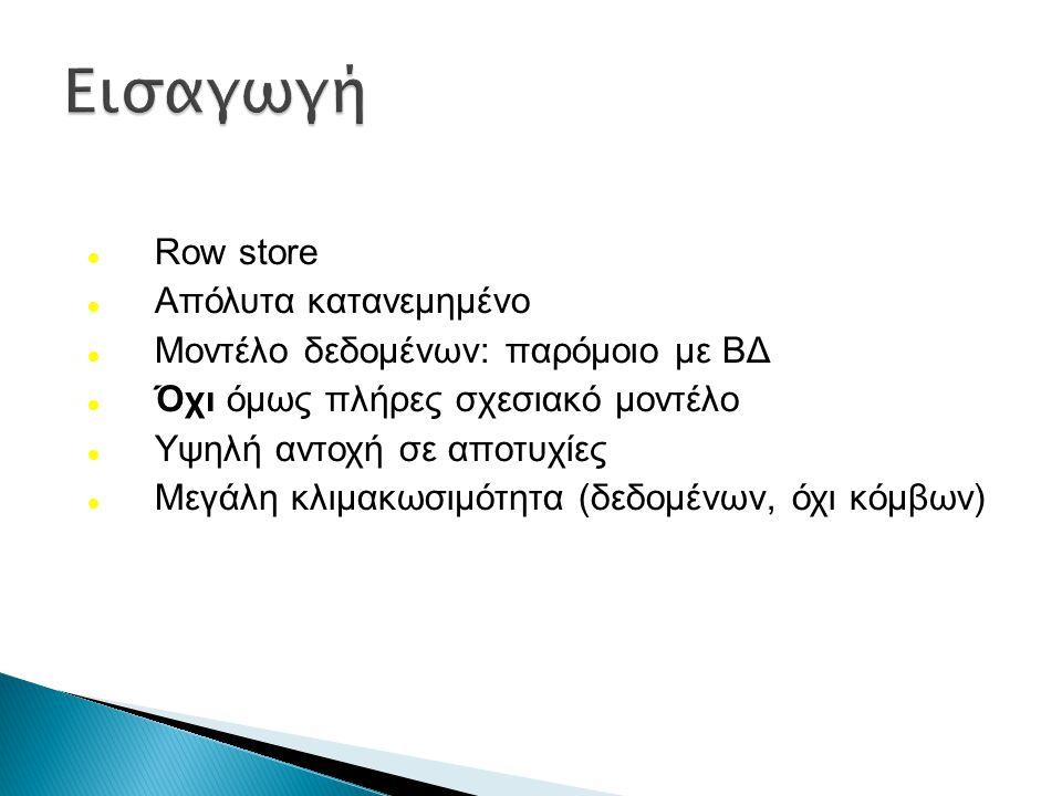 Row store Απόλυτα κατανεμημένο Μοντέλο δεδομένων: παρόμοιο με ΒΔ Όχι όμως πλήρες σχεσιακό μοντέλο Υψηλή αντοχή σε αποτυχίες Μεγάλη κλιμακωσιμότητα (δε