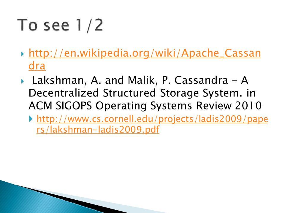  http://en.wikipedia.org/wiki/Apache_Cassan dra http://en.wikipedia.org/wiki/Apache_Cassan dra  Lakshman, A. and Malik, P. Cassandra - A Decentraliz