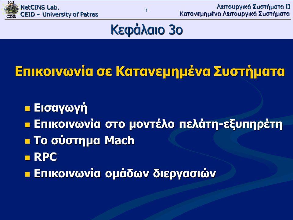 NetCINS Lab. CEID – University of Patras Λειτουργικά Συστήματα ΙΙ Κατανεμημένα Λειτουργικά Συστήματα - 1 - Κεφάλαιο 3ο Επικοινωνία σε Κατανεμημένα Συσ