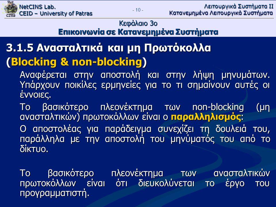 NetCINS Lab. CEID – University of Patras Λειτουργικά Συστήματα ΙΙ Κατανεμημένα Λειτουργικά Συστήματα - 10 - Κεφάλαιο 3ο Επικοινωνία σε Κατανεμημένα Συ