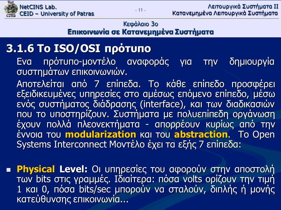 NetCINS Lab. CEID – University of Patras Λειτουργικά Συστήματα ΙΙ Κατανεμημένα Λειτουργικά Συστήματα - 11 - Κεφάλαιο 3ο Επικοινωνία σε Κατανεμημένα Συ