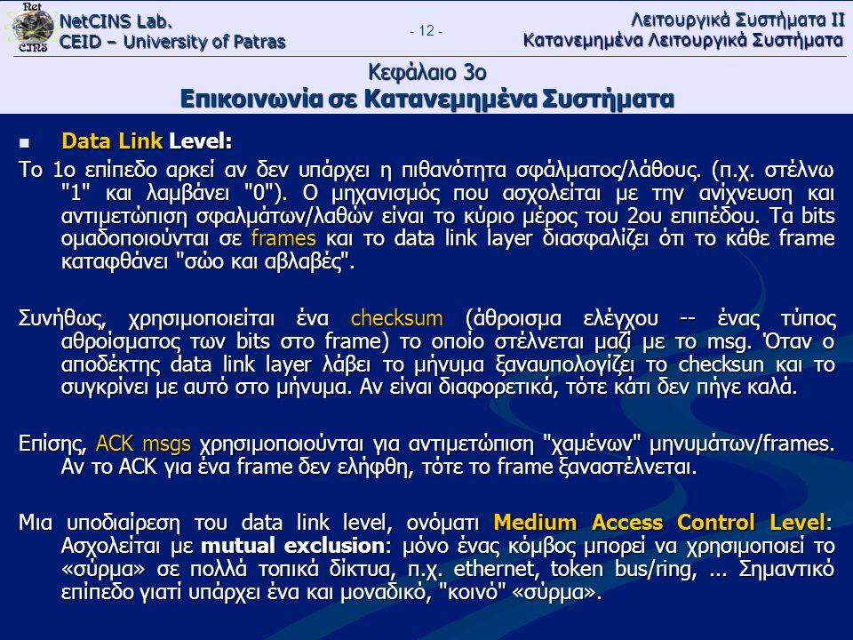 NetCINS Lab. CEID – University of Patras Λειτουργικά Συστήματα ΙΙ Κατανεμημένα Λειτουργικά Συστήματα - 12 - Κεφάλαιο 3ο Επικοινωνία σε Κατανεμημένα Συ