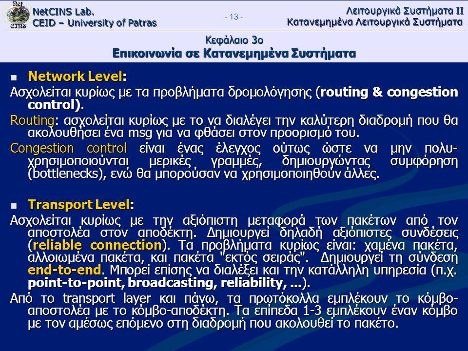 NetCINS Lab. CEID – University of Patras Λειτουργικά Συστήματα ΙΙ Κατανεμημένα Λειτουργικά Συστήματα - 13 - Κεφάλαιο 3ο Επικοινωνία σε Κατανεμημένα Συ