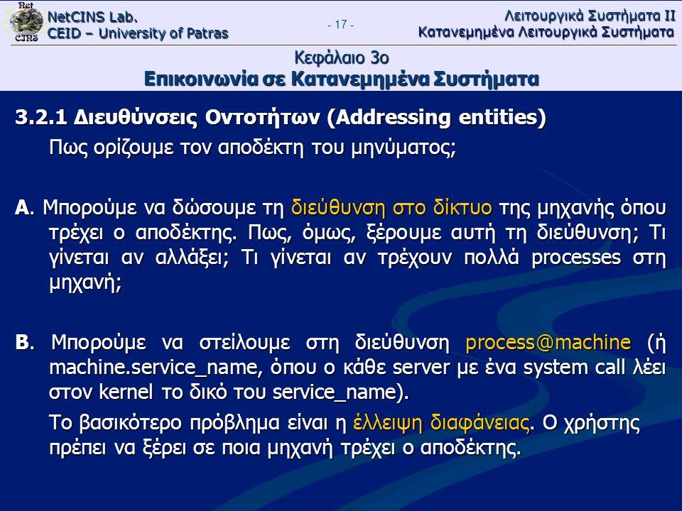 NetCINS Lab. CEID – University of Patras Λειτουργικά Συστήματα ΙΙ Κατανεμημένα Λειτουργικά Συστήματα - 17 - Κεφάλαιο 3ο Επικοινωνία σε Κατανεμημένα Συ