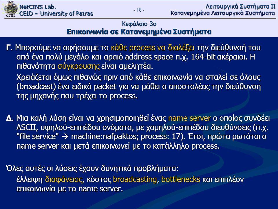 NetCINS Lab. CEID – University of Patras Λειτουργικά Συστήματα ΙΙ Κατανεμημένα Λειτουργικά Συστήματα - 18 - Κεφάλαιο 3ο Επικοινωνία σε Κατανεμημένα Συ