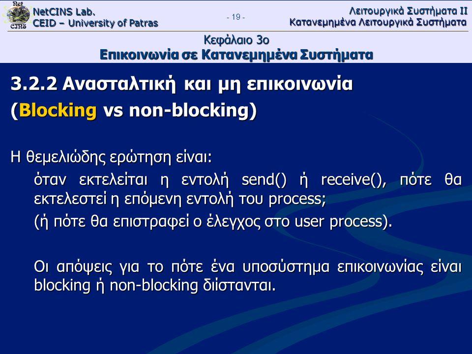 NetCINS Lab. CEID – University of Patras Λειτουργικά Συστήματα ΙΙ Κατανεμημένα Λειτουργικά Συστήματα - 19 - Κεφάλαιο 3ο Επικοινωνία σε Κατανεμημένα Συ