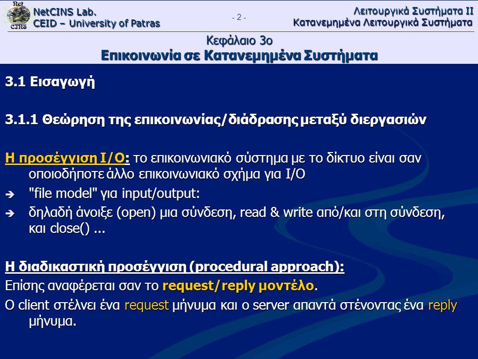 NetCINS Lab. CEID – University of Patras Λειτουργικά Συστήματα ΙΙ Κατανεμημένα Λειτουργικά Συστήματα - 2 - Κεφάλαιο 3ο Επικοινωνία σε Κατανεμημένα Συσ