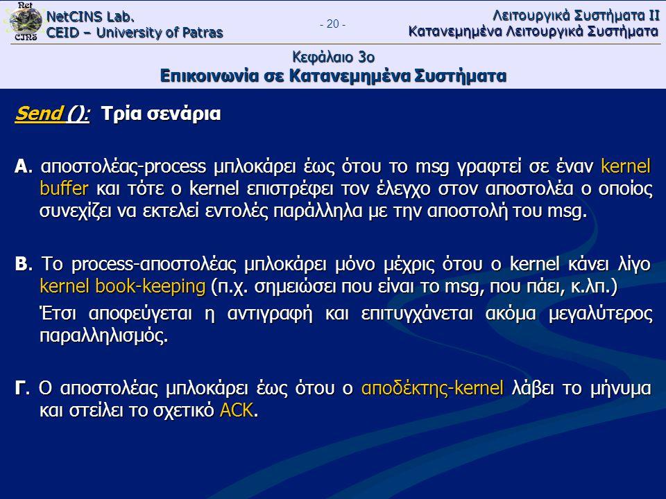 NetCINS Lab. CEID – University of Patras Λειτουργικά Συστήματα ΙΙ Κατανεμημένα Λειτουργικά Συστήματα - 20 - Κεφάλαιο 3ο Επικοινωνία σε Κατανεμημένα Συ