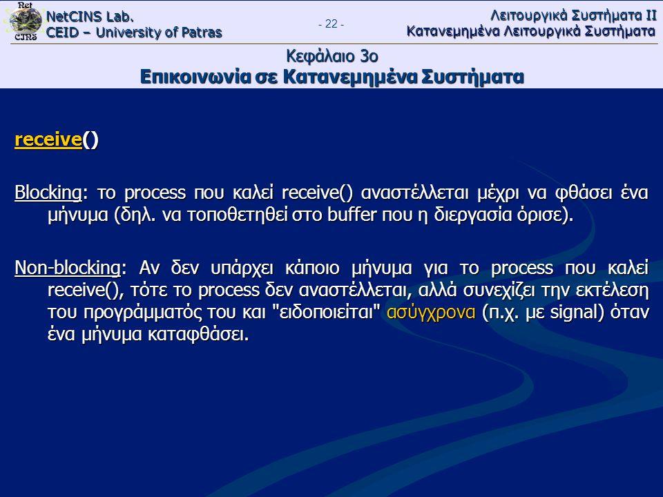 NetCINS Lab. CEID – University of Patras Λειτουργικά Συστήματα ΙΙ Κατανεμημένα Λειτουργικά Συστήματα - 22 - Κεφάλαιο 3ο Επικοινωνία σε Κατανεμημένα Συ