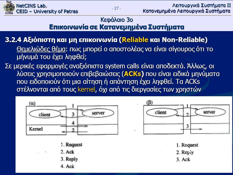 NetCINS Lab. CEID – University of Patras Λειτουργικά Συστήματα ΙΙ Κατανεμημένα Λειτουργικά Συστήματα - 27 - Κεφάλαιο 3ο Επικοινωνία σε Κατανεμημένα Συ