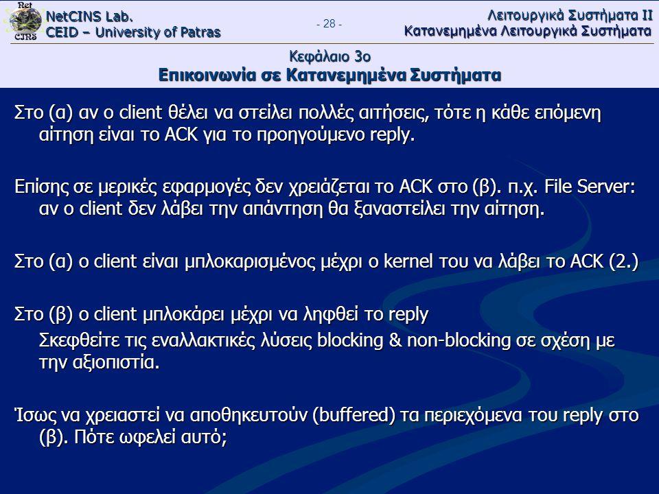 NetCINS Lab. CEID – University of Patras Λειτουργικά Συστήματα ΙΙ Κατανεμημένα Λειτουργικά Συστήματα - 28 - Κεφάλαιο 3ο Επικοινωνία σε Κατανεμημένα Συ