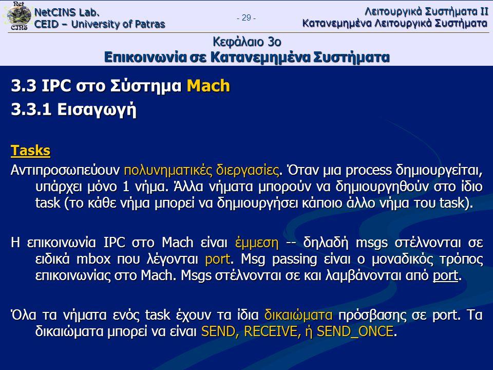 NetCINS Lab. CEID – University of Patras Λειτουργικά Συστήματα ΙΙ Κατανεμημένα Λειτουργικά Συστήματα - 29 - Κεφάλαιο 3ο Επικοινωνία σε Κατανεμημένα Συ
