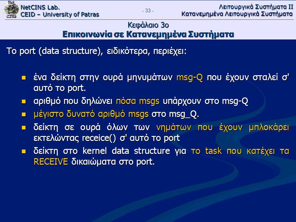 NetCINS Lab. CEID – University of Patras Λειτουργικά Συστήματα ΙΙ Κατανεμημένα Λειτουργικά Συστήματα - 33 - Κεφάλαιο 3ο Επικοινωνία σε Κατανεμημένα Συ