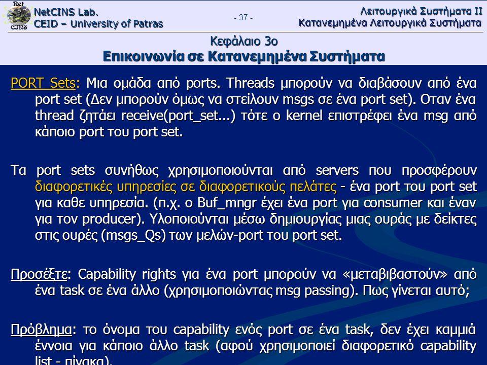 NetCINS Lab. CEID – University of Patras Λειτουργικά Συστήματα ΙΙ Κατανεμημένα Λειτουργικά Συστήματα - 37 - Κεφάλαιο 3ο Επικοινωνία σε Κατανεμημένα Συ