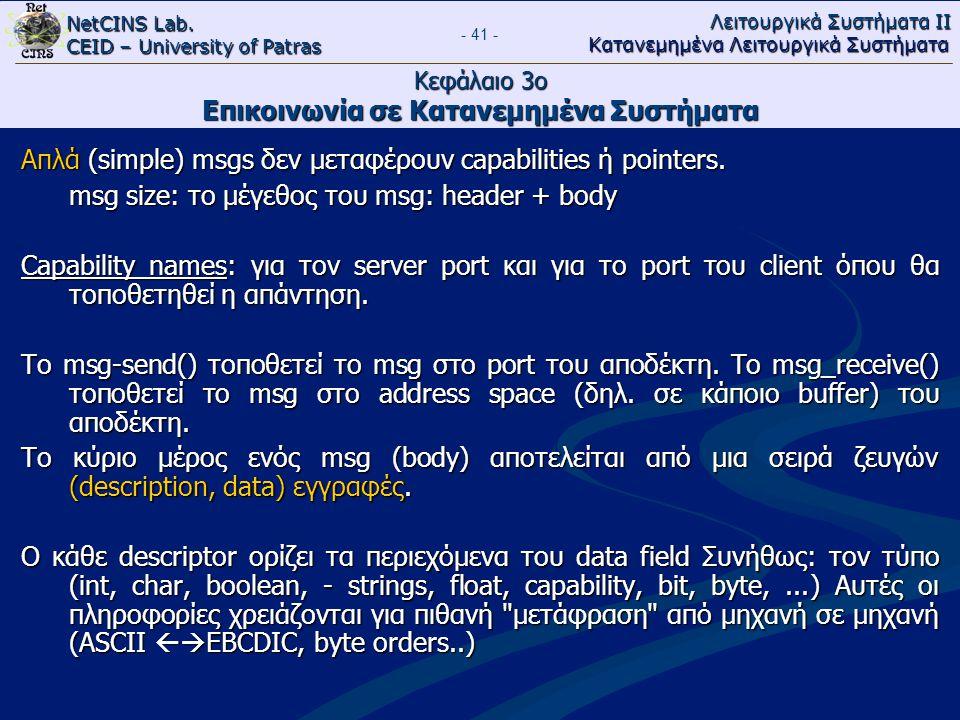 NetCINS Lab. CEID – University of Patras Λειτουργικά Συστήματα ΙΙ Κατανεμημένα Λειτουργικά Συστήματα - 41 - Κεφάλαιο 3ο Επικοινωνία σε Κατανεμημένα Συ
