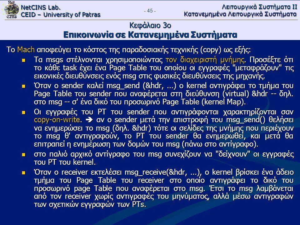 NetCINS Lab. CEID – University of Patras Λειτουργικά Συστήματα ΙΙ Κατανεμημένα Λειτουργικά Συστήματα - 45 - Κεφάλαιο 3ο Επικοινωνία σε Κατανεμημένα Συ