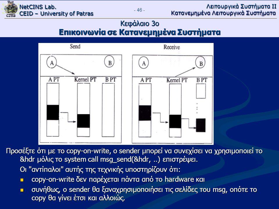 NetCINS Lab. CEID – University of Patras Λειτουργικά Συστήματα ΙΙ Κατανεμημένα Λειτουργικά Συστήματα - 46 - Κεφάλαιο 3ο Επικοινωνία σε Κατανεμημένα Συ