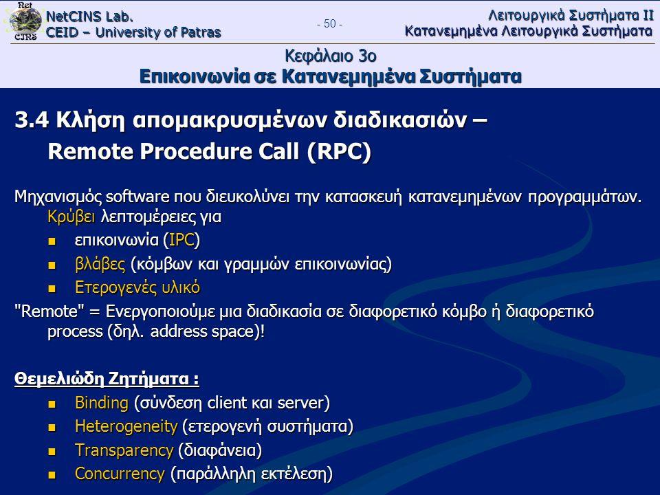 NetCINS Lab. CEID – University of Patras Λειτουργικά Συστήματα ΙΙ Κατανεμημένα Λειτουργικά Συστήματα - 50 - Κεφάλαιο 3ο Επικοινωνία σε Κατανεμημένα Συ