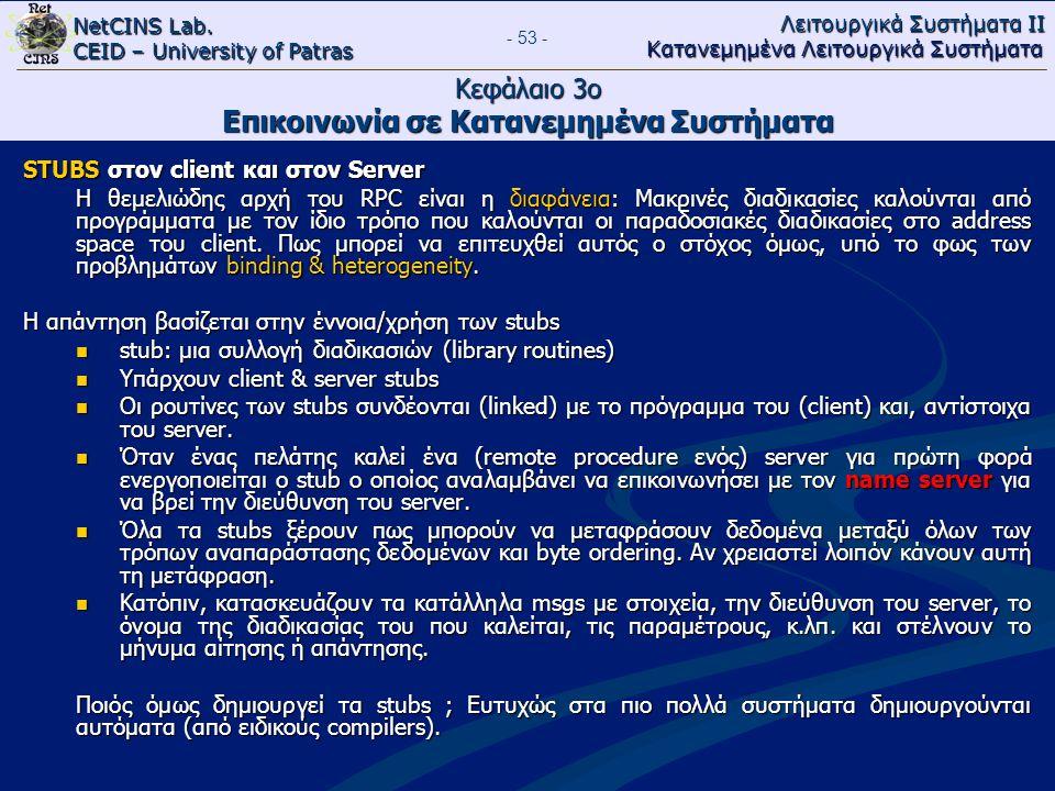 NetCINS Lab. CEID – University of Patras Λειτουργικά Συστήματα ΙΙ Κατανεμημένα Λειτουργικά Συστήματα - 53 - Κεφάλαιο 3ο Επικοινωνία σε Κατανεμημένα Συ