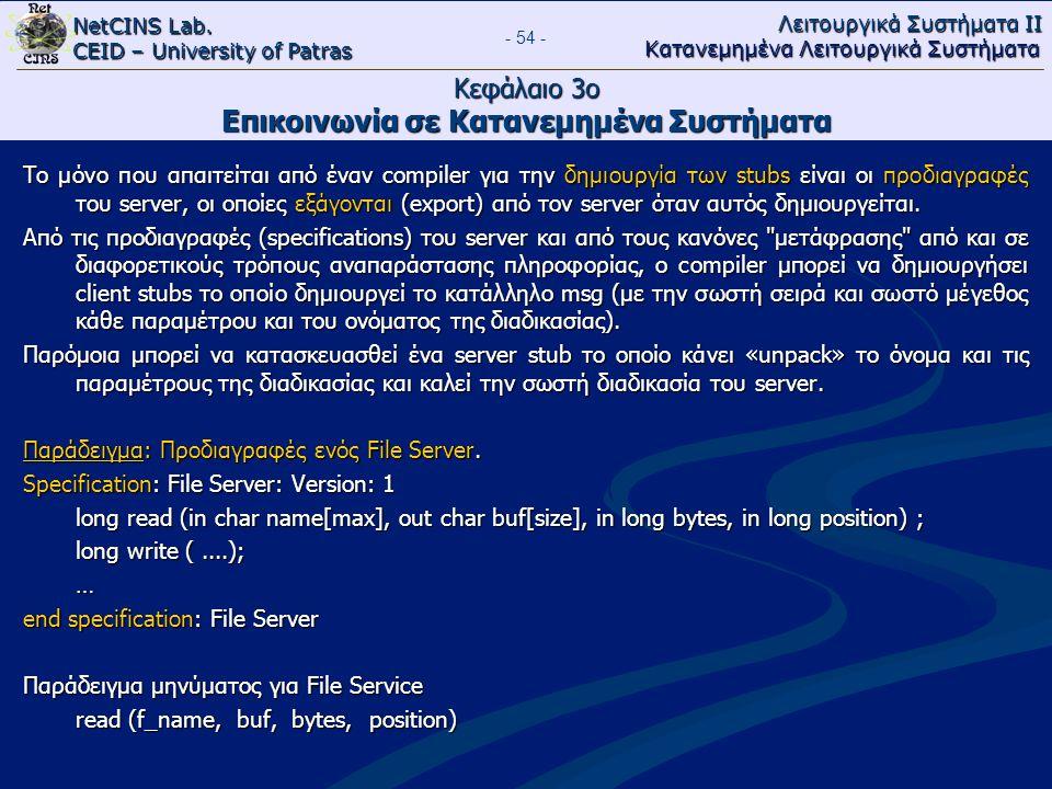 NetCINS Lab. CEID – University of Patras Λειτουργικά Συστήματα ΙΙ Κατανεμημένα Λειτουργικά Συστήματα - 54 - Κεφάλαιο 3ο Επικοινωνία σε Κατανεμημένα Συ