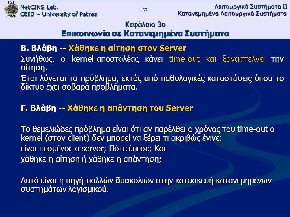 NetCINS Lab. CEID – University of Patras Λειτουργικά Συστήματα ΙΙ Κατανεμημένα Λειτουργικά Συστήματα - 57 - Κεφάλαιο 3ο Επικοινωνία σε Κατανεμημένα Συ