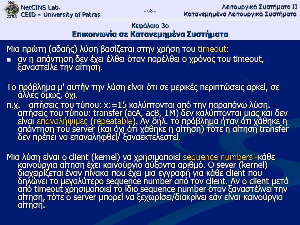 NetCINS Lab. CEID – University of Patras Λειτουργικά Συστήματα ΙΙ Κατανεμημένα Λειτουργικά Συστήματα - 58 - Κεφάλαιο 3ο Επικοινωνία σε Κατανεμημένα Συ