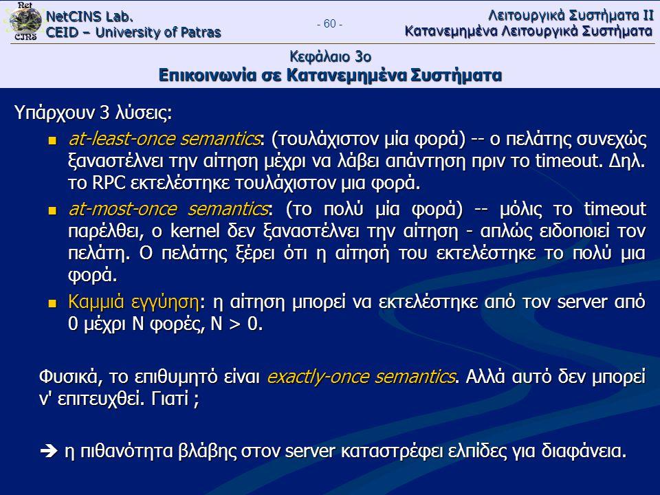NetCINS Lab. CEID – University of Patras Λειτουργικά Συστήματα ΙΙ Κατανεμημένα Λειτουργικά Συστήματα - 60 - Κεφάλαιο 3ο Επικοινωνία σε Κατανεμημένα Συ
