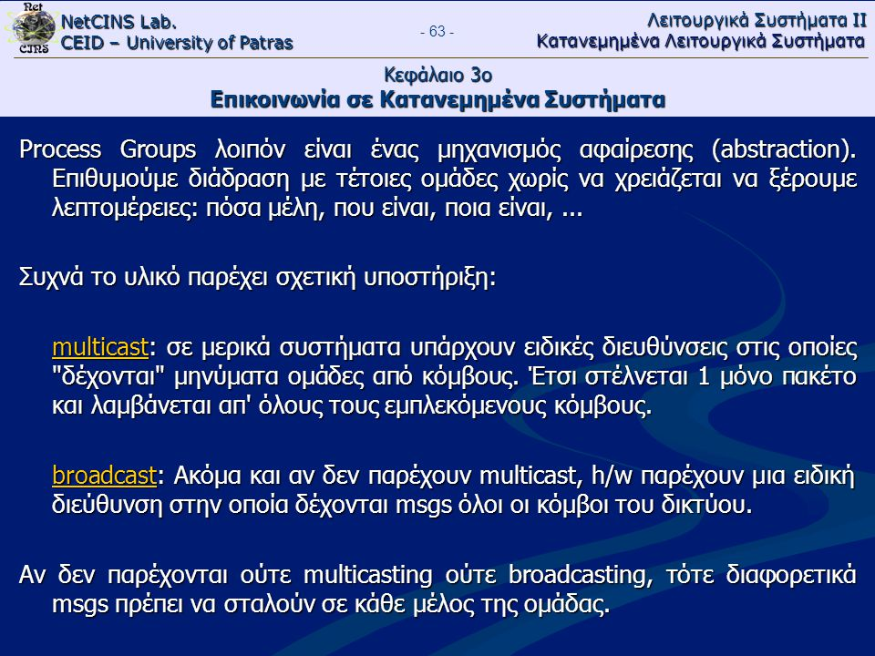 NetCINS Lab. CEID – University of Patras Λειτουργικά Συστήματα ΙΙ Κατανεμημένα Λειτουργικά Συστήματα - 63 - Κεφάλαιο 3ο Επικοινωνία σε Κατανεμημένα Συ