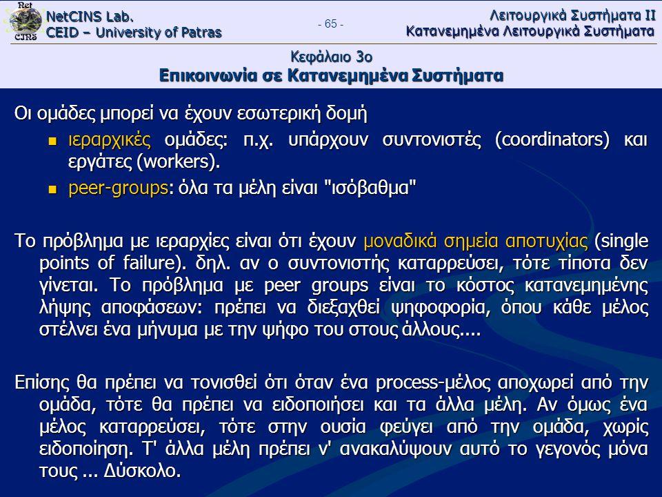 NetCINS Lab. CEID – University of Patras Λειτουργικά Συστήματα ΙΙ Κατανεμημένα Λειτουργικά Συστήματα - 65 - Κεφάλαιο 3ο Επικοινωνία σε Κατανεμημένα Συ