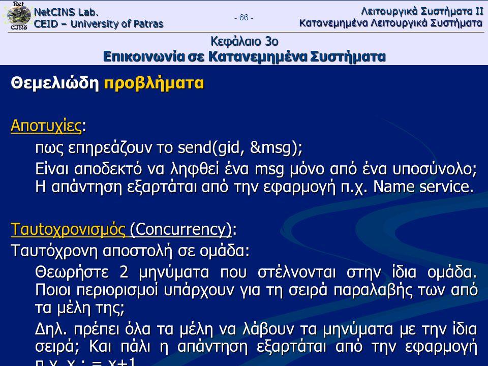 NetCINS Lab. CEID – University of Patras Λειτουργικά Συστήματα ΙΙ Κατανεμημένα Λειτουργικά Συστήματα - 66 - Κεφάλαιο 3ο Επικοινωνία σε Κατανεμημένα Συ