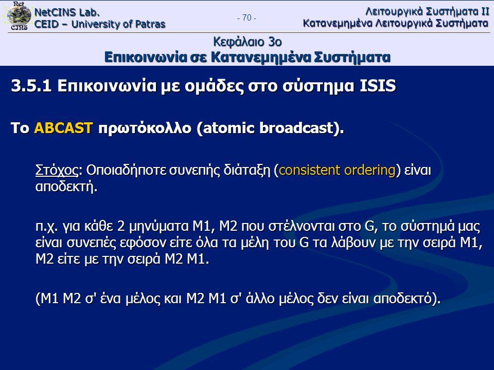 NetCINS Lab. CEID – University of Patras Λειτουργικά Συστήματα ΙΙ Κατανεμημένα Λειτουργικά Συστήματα - 70 - Κεφάλαιο 3ο Επικοινωνία σε Κατανεμημένα Συ