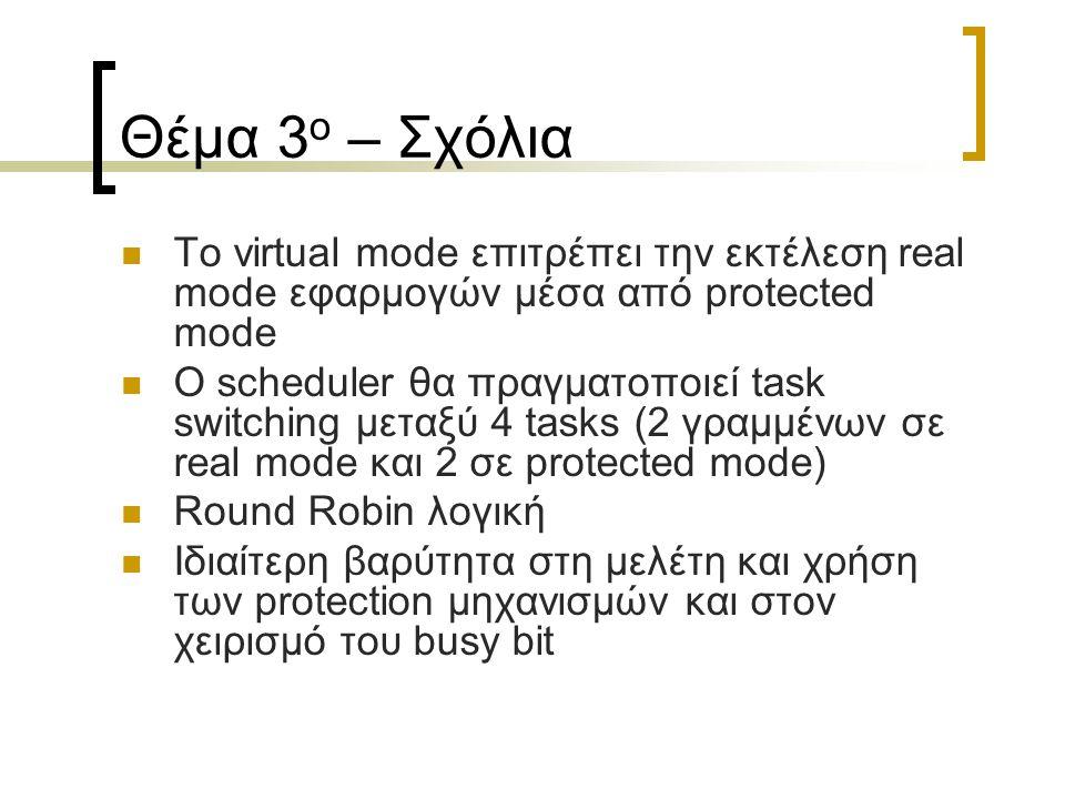Θέμα 3 ο – Σχόλια Το virtual mode επιτρέπει την εκτέλεση real mode εφαρμογών μέσα από protected mode Ο scheduler θα πραγματοποιεί task switching μεταξ
