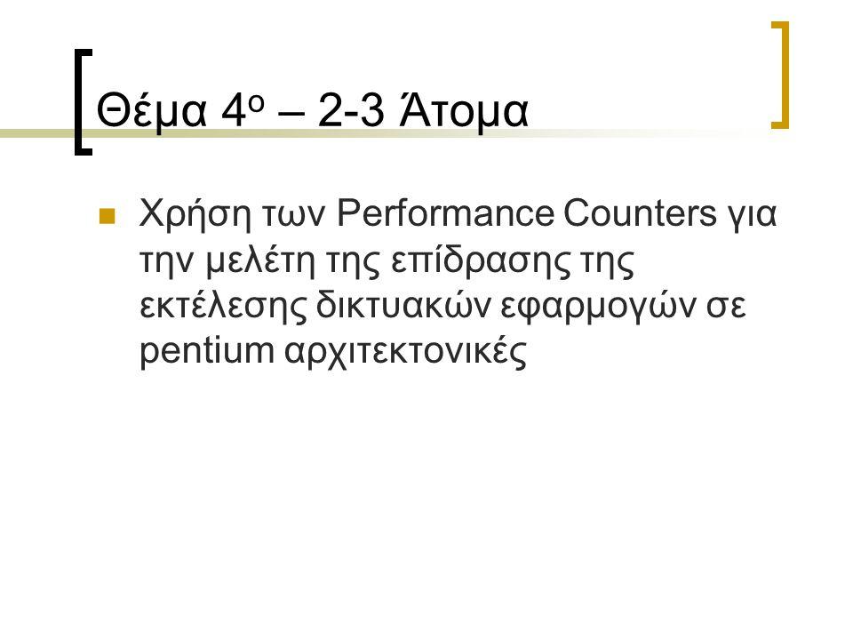 Θέμα 4 ο – 2-3 Άτομα Χρήση των Performance Counters για την μελέτη της επίδρασης της εκτέλεσης δικτυακών εφαρμογών σε pentium αρχιτεκτονικές