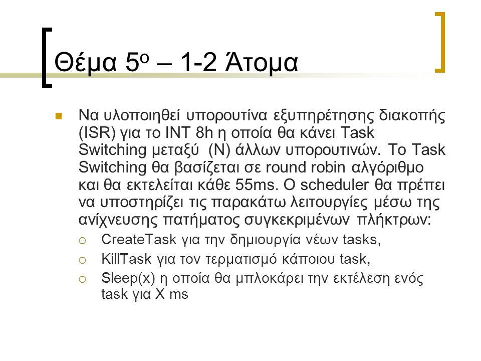 Θέμα 5 ο – 1-2 Άτομα Να υλοποιηθεί υπορουτίνα εξυπηρέτησης διακοπής (ISR) για το ΙΝΤ 8h η οποία θα κάνει Task Switching μεταξύ (Ν) άλλων υπορουτινών.