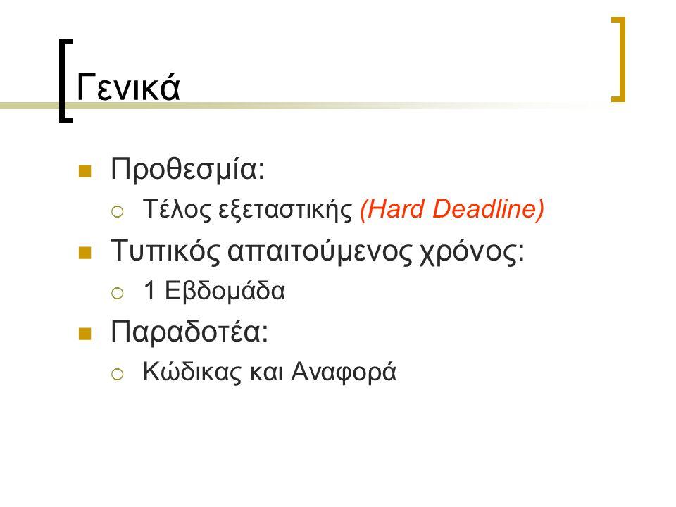 Γενικά Προθεσμία:  Τέλος εξεταστικής (Hard Deadline) Τυπικός απαιτούμενος χρόνος:  1 Εβδομάδα Παραδοτέα:  Κώδικας και Αναφορά