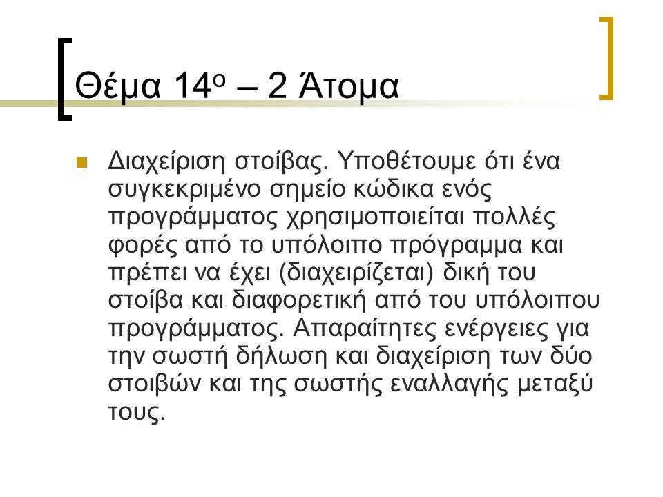 Θέμα 14 ο – 2 Άτομα Διαχείριση στοίβας. Υποθέτουμε ότι ένα συγκεκριμένο σημείο κώδικα ενός προγράμματος χρησιμοποιείται πολλές φορές από το υπόλοιπο π